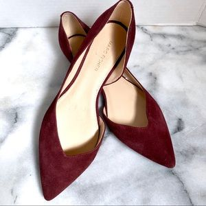 Marc Fisher Plum Suede Amra D'Orsay Flats Size 8